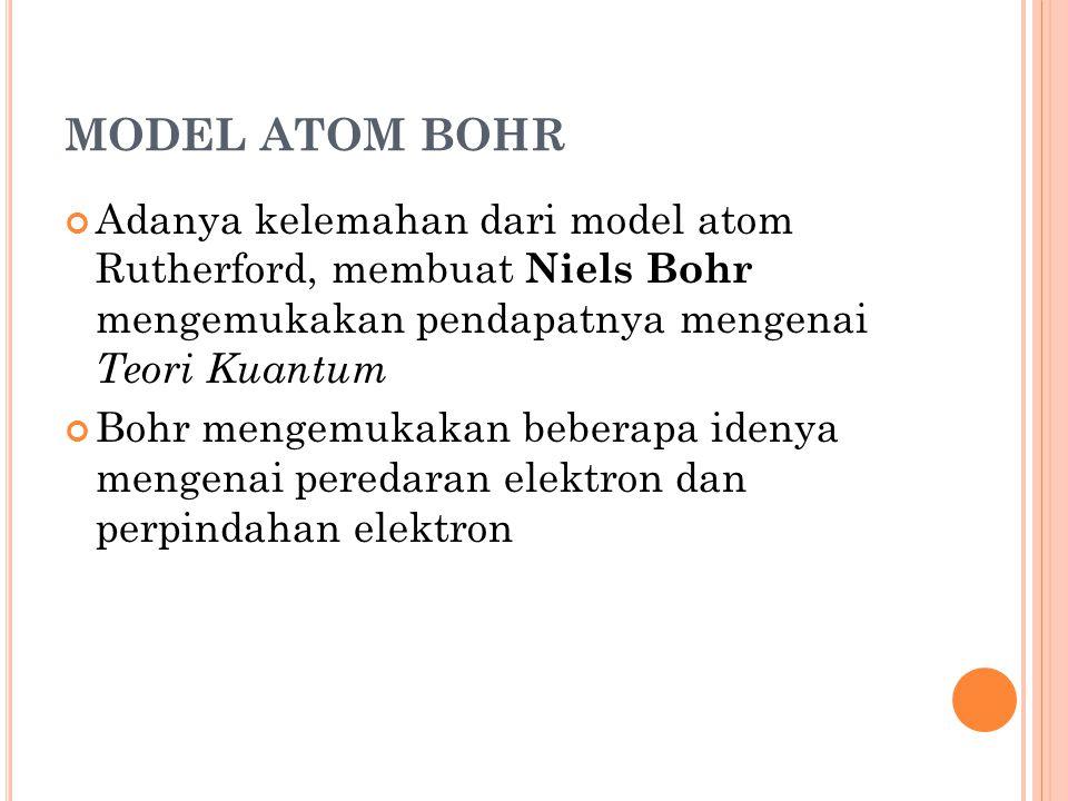 MODEL ATOM BOHR Adanya kelemahan dari model atom Rutherford, membuat Niels Bohr mengemukakan pendapatnya mengenai Teori Kuantum.