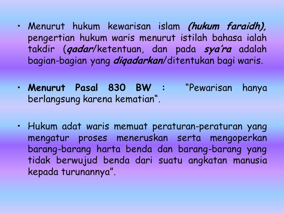 Menurut hukum kewarisan islam (hukum faraidh), pengertian hukum waris menurut istilah bahasa ialah takdir (qadar/ketentuan, dan pada sya'ra adalah bagian-bagian yang diqadarkan/ditentukan bagi waris.
