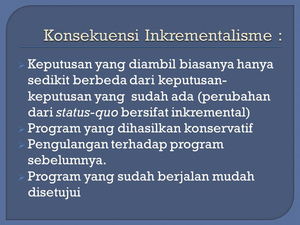 Konsekuensi Inkrementalisme :
