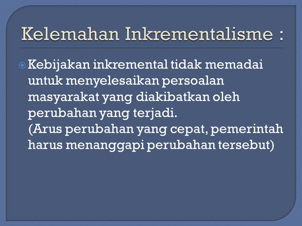Kelemahan Inkrementalisme :