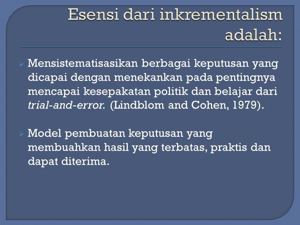 Esensi dari inkrementalism adalah: