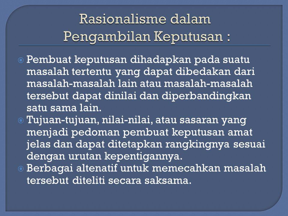 Rasionalisme dalam Pengambilan Keputusan :
