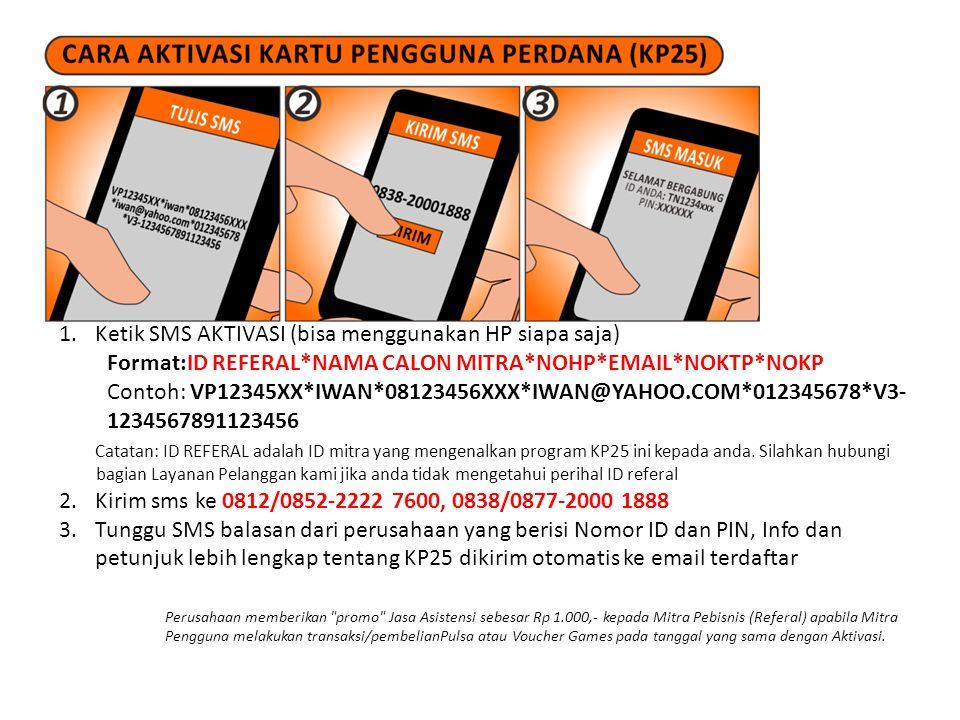 Ketik SMS AKTIVASI (bisa menggunakan HP siapa saja)