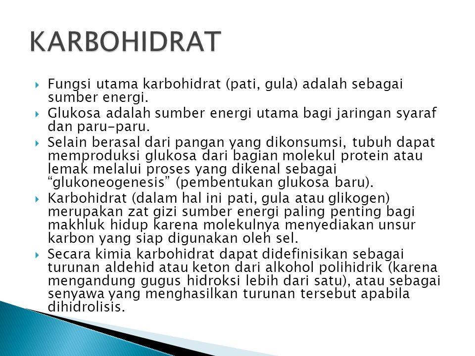 KARBOHIDRAT Fungsi utama karbohidrat (pati, gula) adalah sebagai sumber energi.