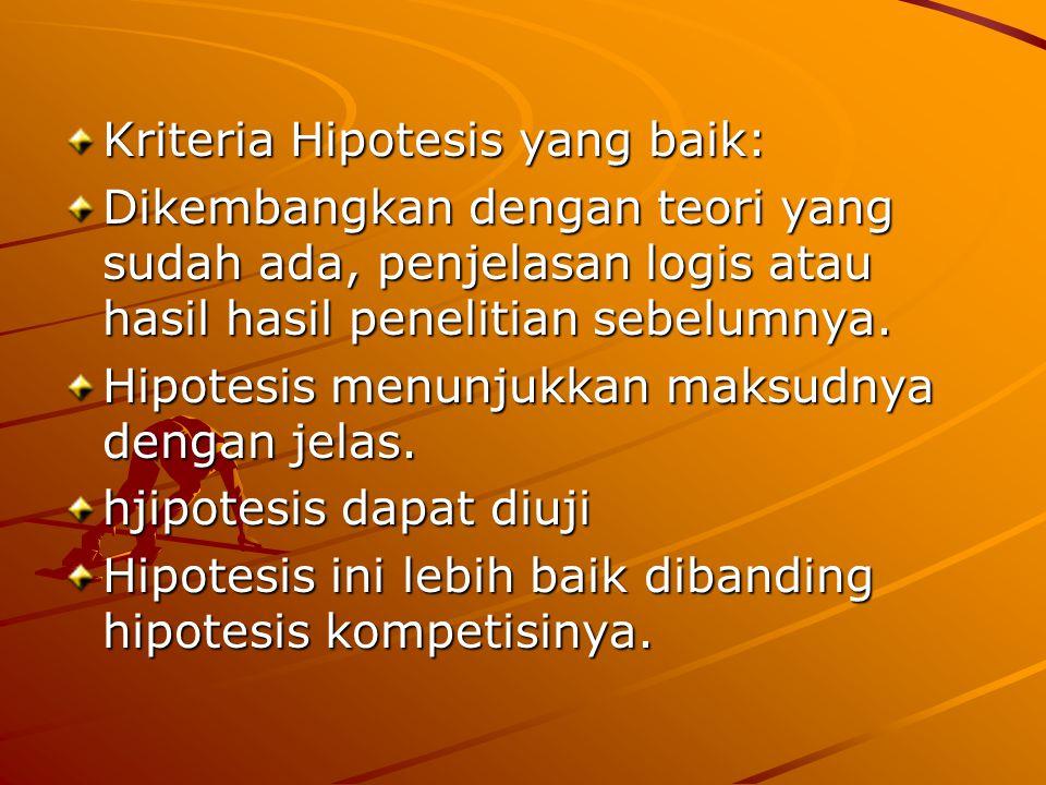 Kriteria Hipotesis yang baik: