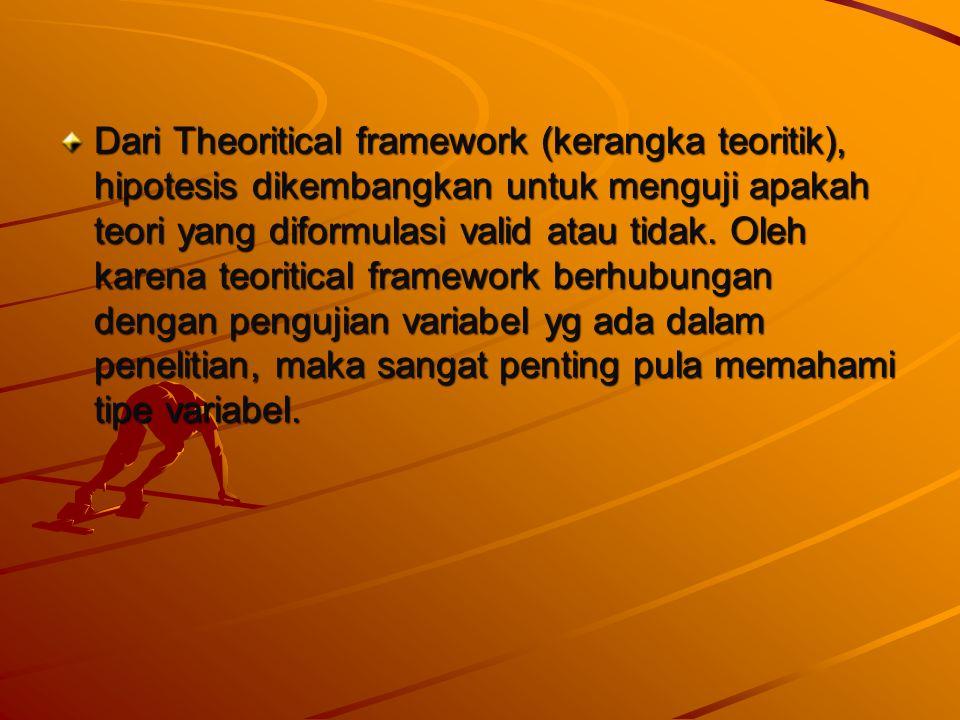 Dari Theoritical framework (kerangka teoritik), hipotesis dikembangkan untuk menguji apakah teori yang diformulasi valid atau tidak.