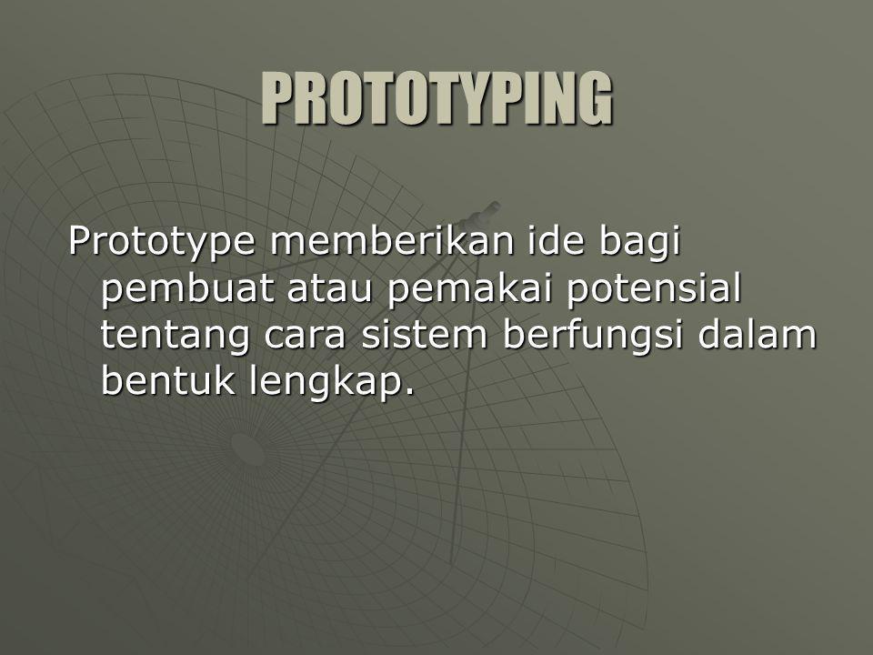 PROTOTYPING Prototype memberikan ide bagi pembuat atau pemakai potensial tentang cara sistem berfungsi dalam bentuk lengkap.