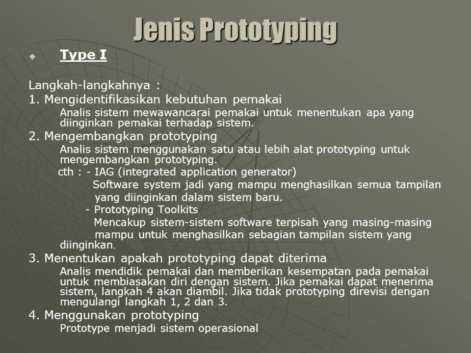 Jenis Prototyping Type I Langkah-langkahnya :