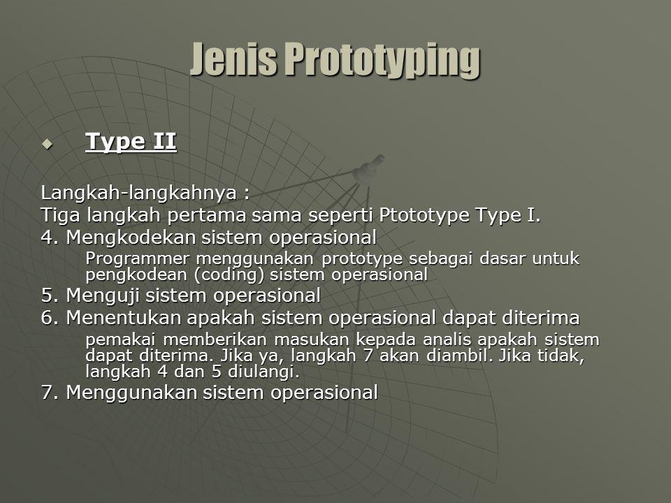 Jenis Prototyping Type II Langkah-langkahnya :
