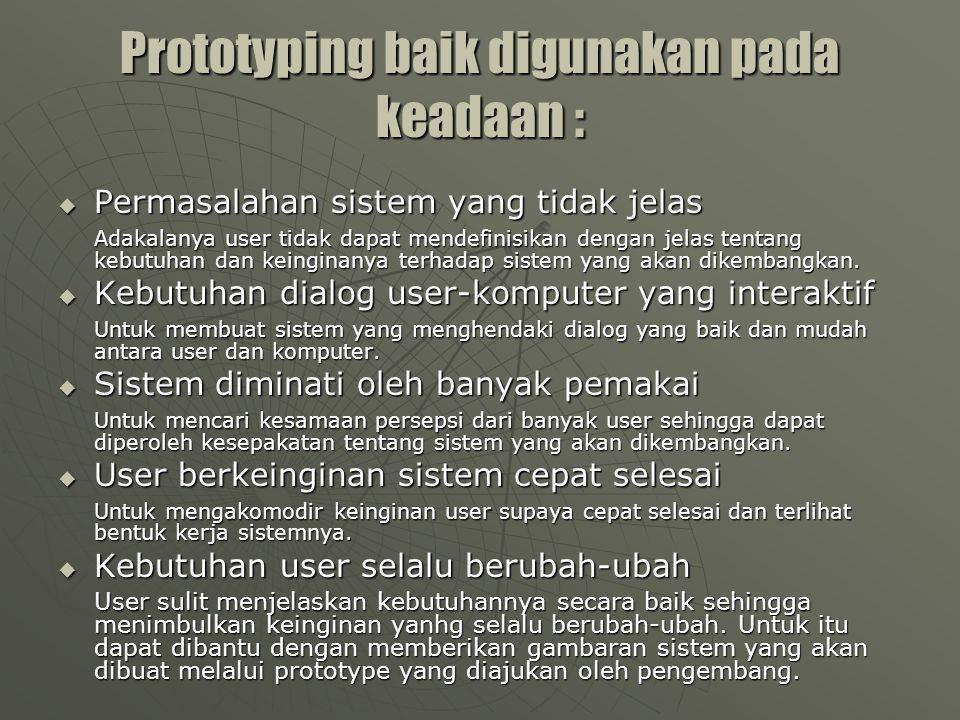 Prototyping baik digunakan pada keadaan :