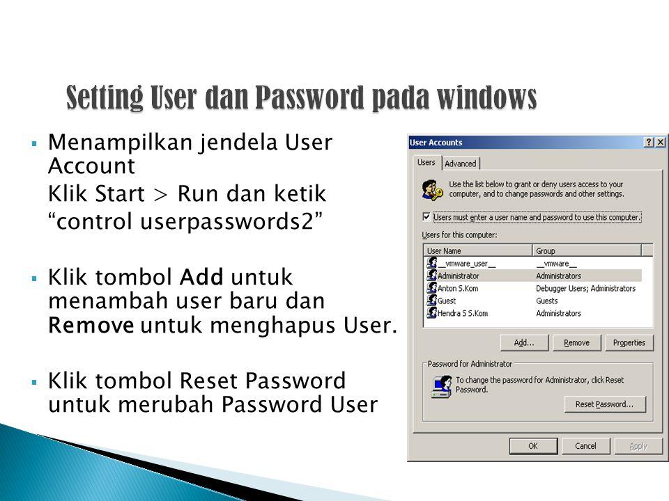 Setting User dan Password pada windows