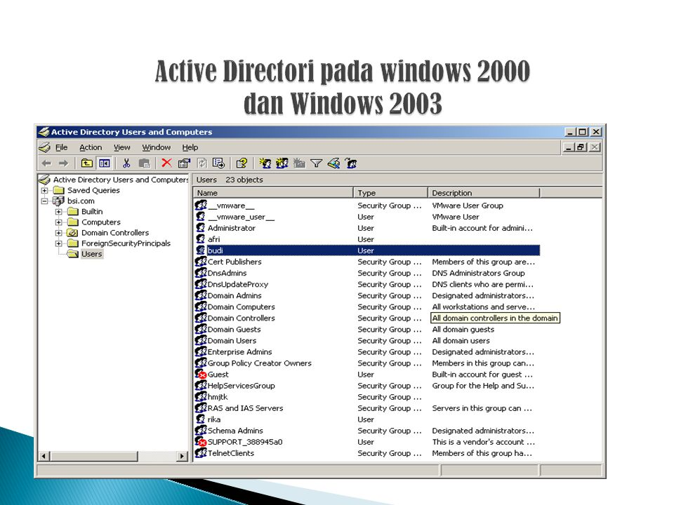 Active Directori pada windows 2000 dan Windows 2003