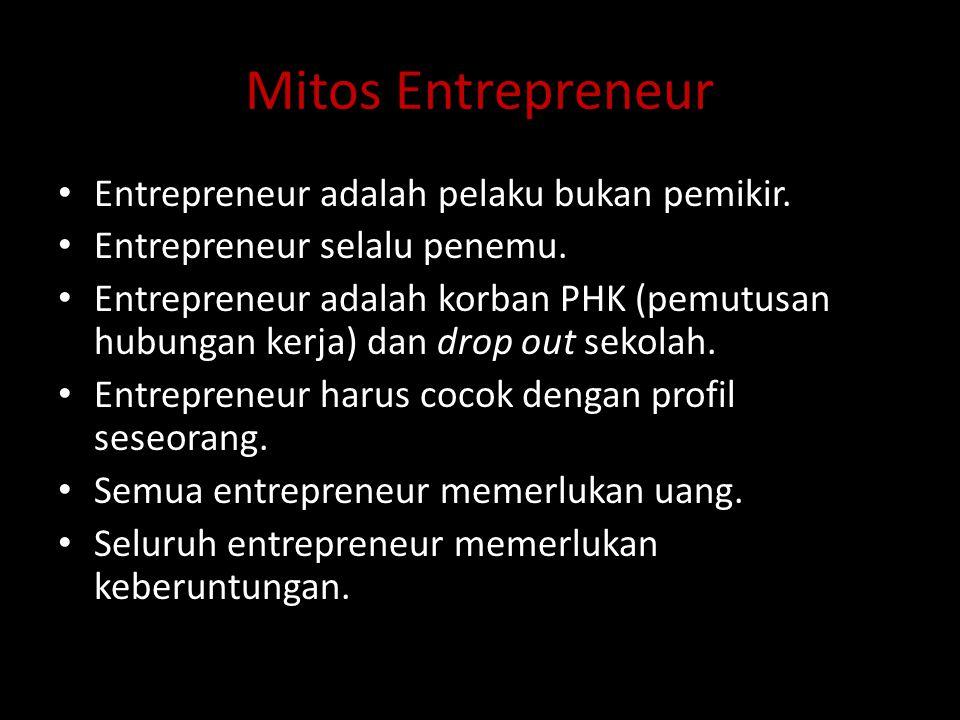 Mitos Entrepreneur Entrepreneur adalah pelaku bukan pemikir.