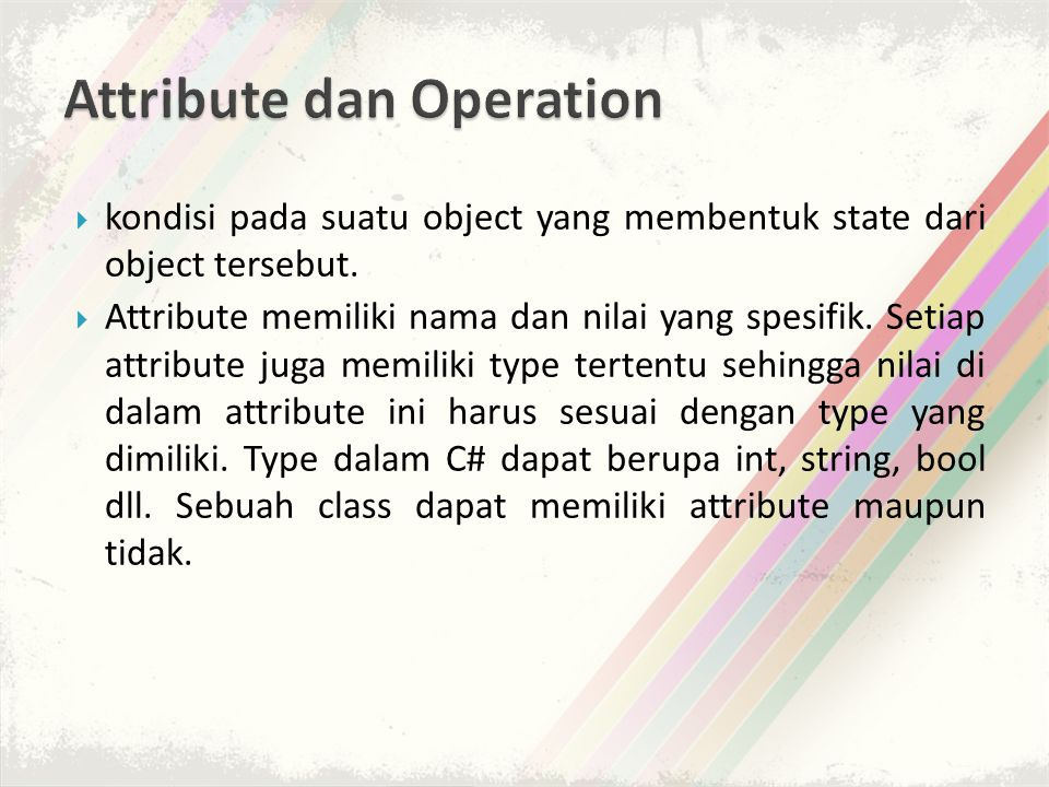 Attribute dan Operation