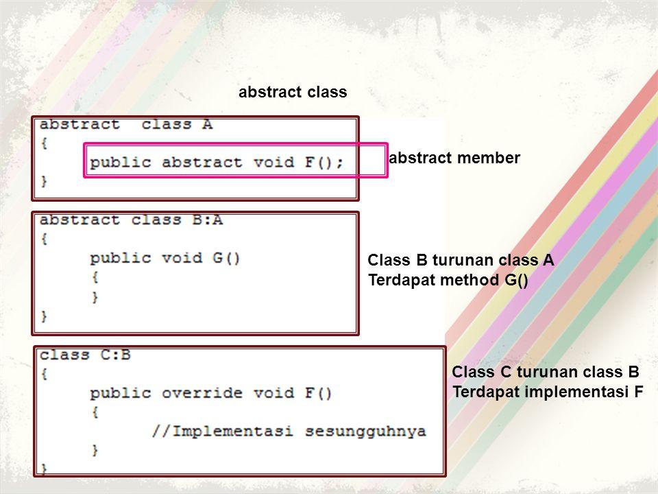 abstract class abstract member. Class B turunan class A. Terdapat method G() Class C turunan class B.
