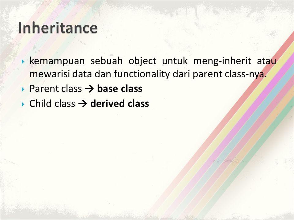 Inheritance kemampuan sebuah object untuk meng-inherit atau mewarisi data dan functionality dari parent class-nya.