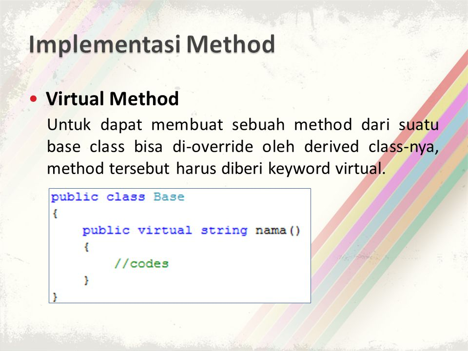 Implementasi Method Virtual Method