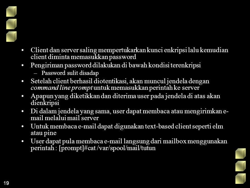 Pengiriman password dilakukan di bawah kondisi terenkripsi