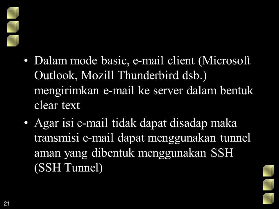 Dalam mode basic, e-mail client (Microsoft Outlook, Mozill Thunderbird dsb.) mengirimkan e-mail ke server dalam bentuk clear text