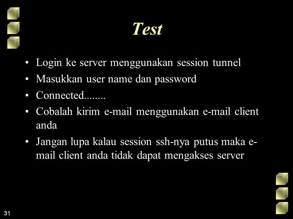 Test Login ke server menggunakan session tunnel