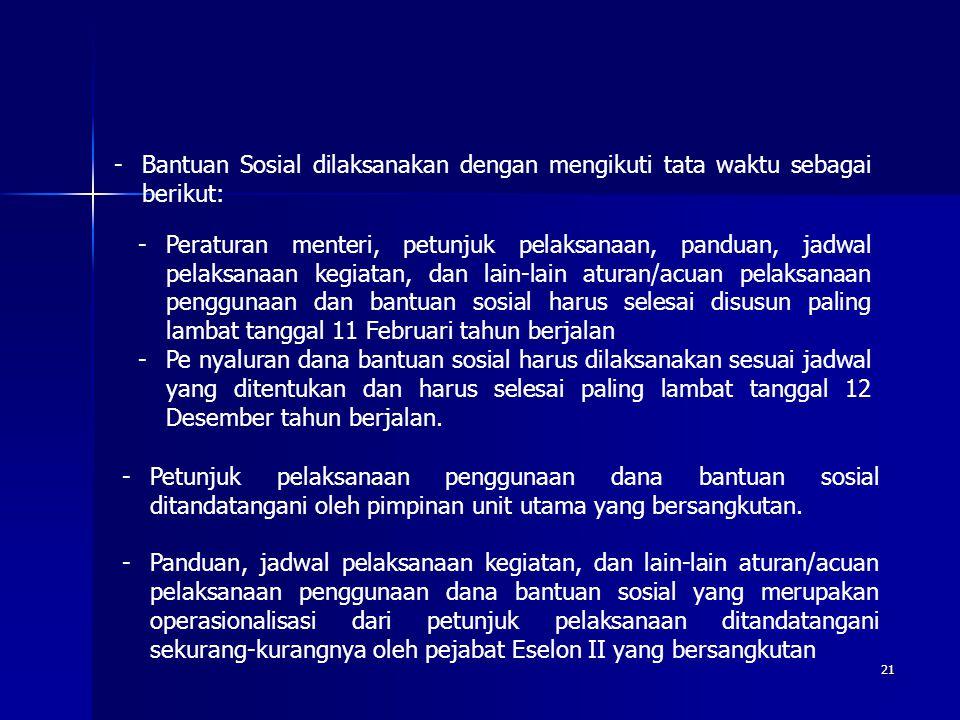 Bantuan Sosial dilaksanakan dengan mengikuti tata waktu sebagai berikut: