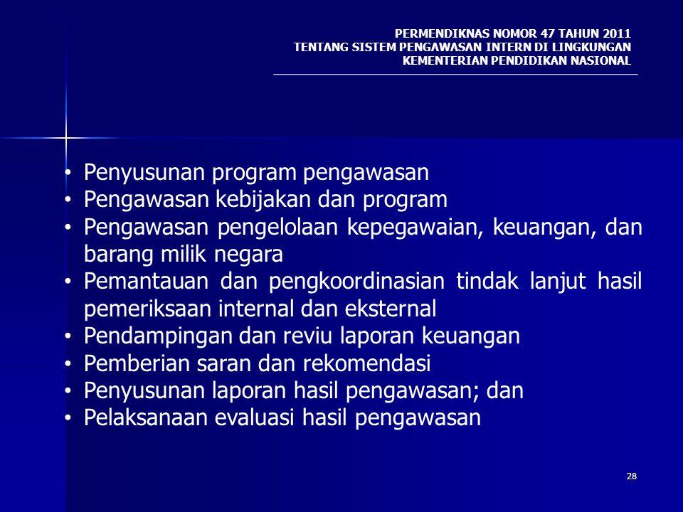 Penyusunan program pengawasan Pengawasan kebijakan dan program