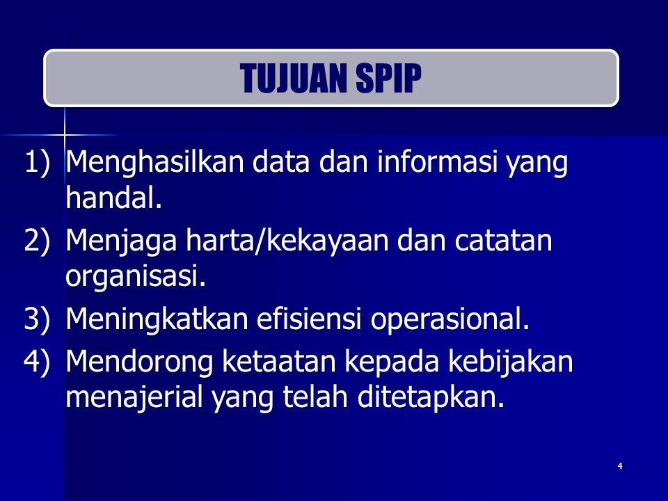 TUJUAN SPIP Menghasilkan data dan informasi yang handal.