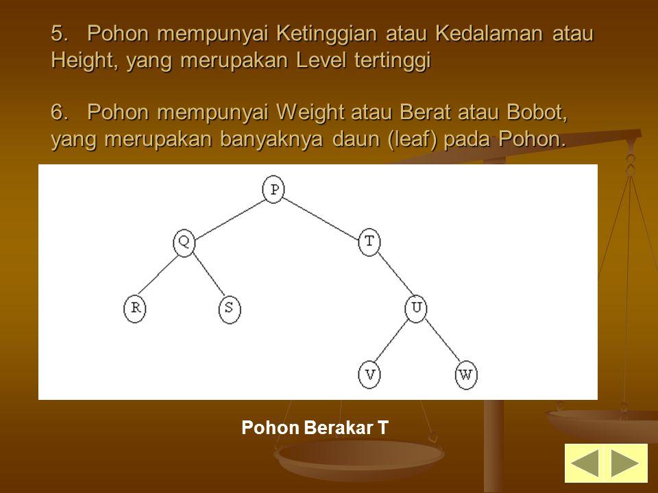 5. Pohon mempunyai Ketinggian atau Kedalaman atau Height, yang merupakan Level tertinggi 6. Pohon mempunyai Weight atau Berat atau Bobot, yang merupakan banyaknya daun (leaf) pada Pohon.