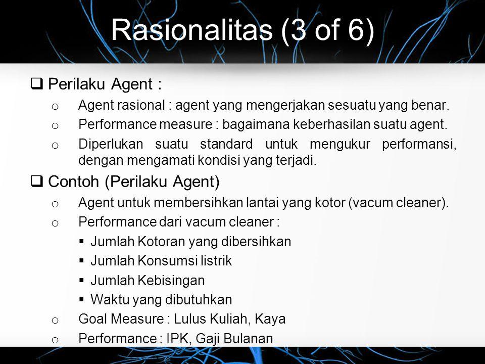 Rasionalitas (3 of 6) Perilaku Agent : Contoh (Perilaku Agent)