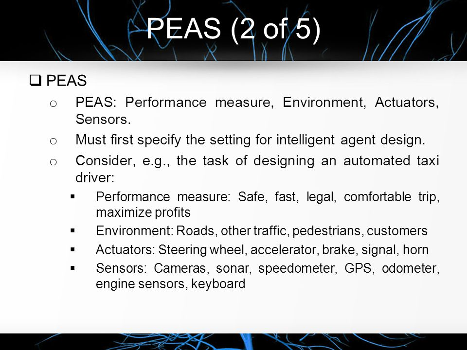PEAS (2 of 5) PEAS. PEAS: Performance measure, Environment, Actuators, Sensors. Must first specify the setting for intelligent agent design.