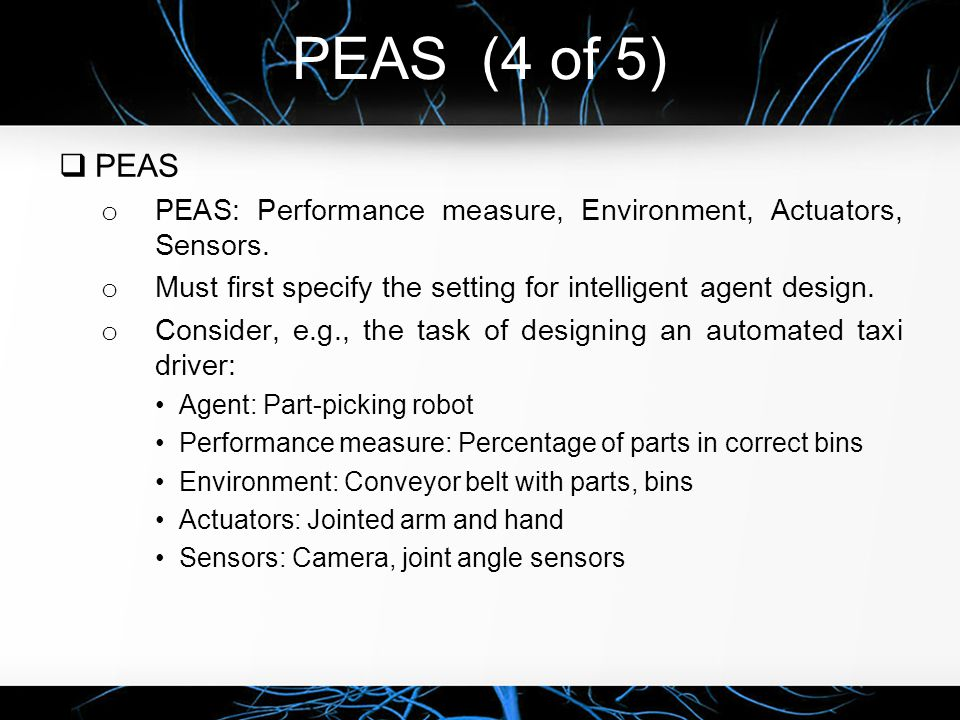 PEAS (4 of 5) PEAS. PEAS: Performance measure, Environment, Actuators, Sensors. Must first specify the setting for intelligent agent design.