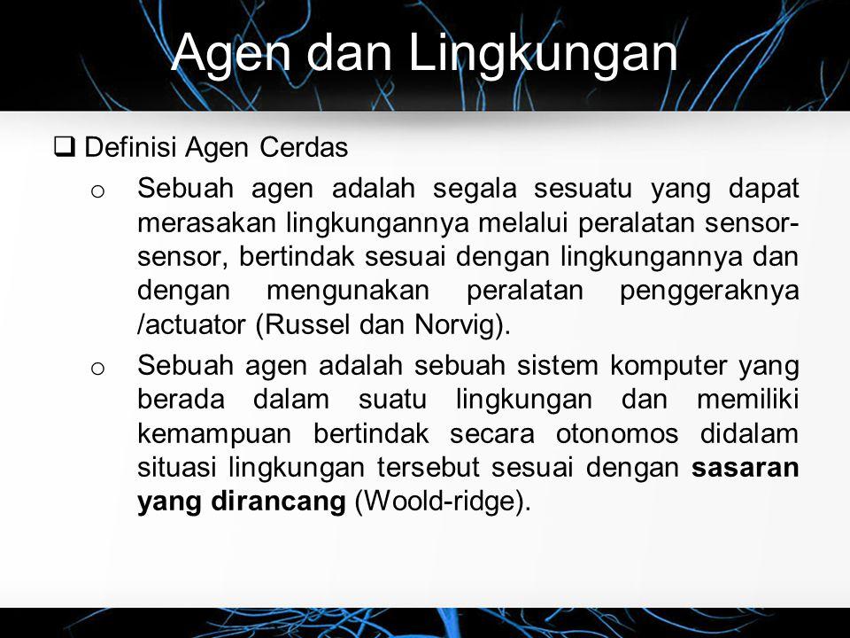Agen dan Lingkungan Definisi Agen Cerdas
