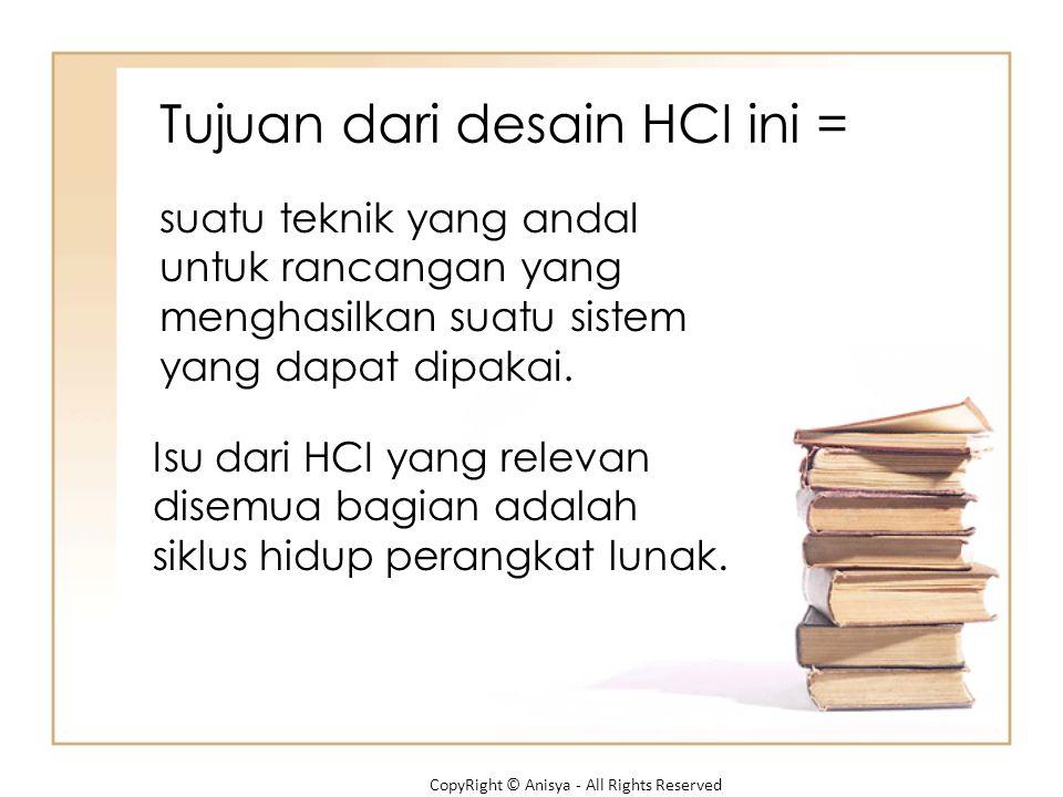 Tujuan dari desain HCI ini =