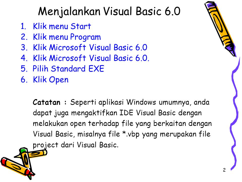 Menjalankan Visual Basic 6.0