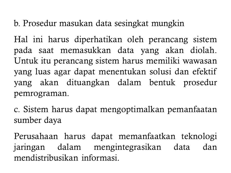 b. Prosedur masukan data sesingkat mungkin