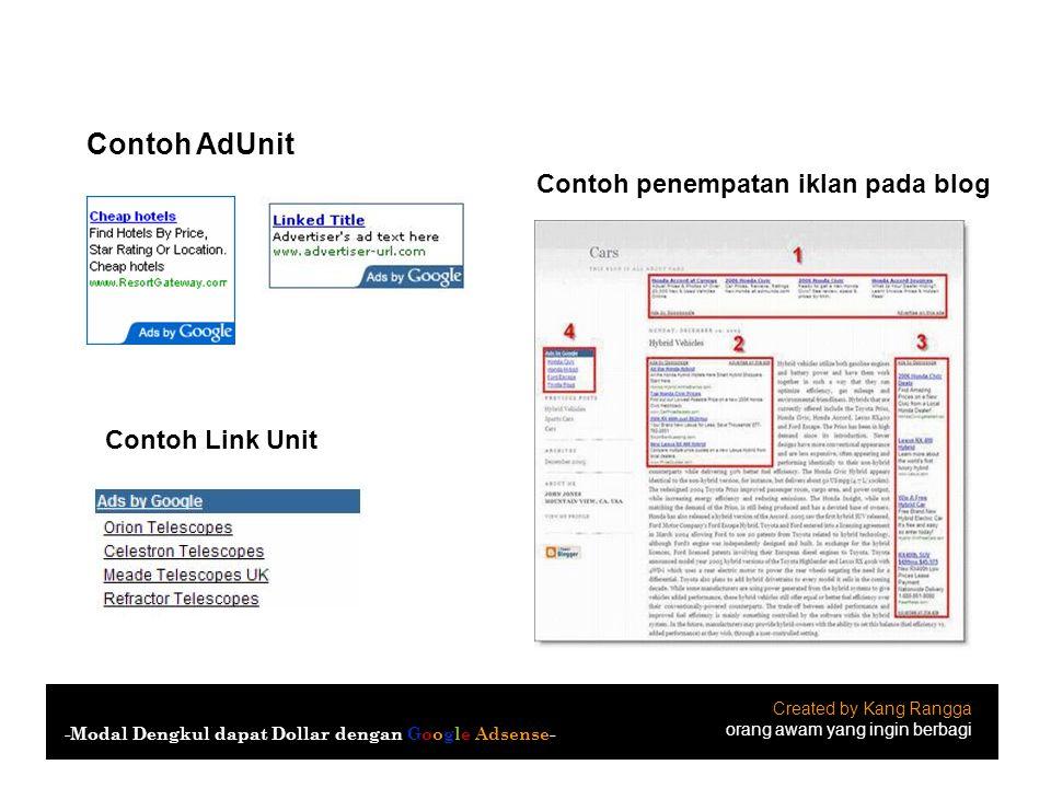 Contoh AdUnit Contoh penempatan iklan pada blog Contoh Link Unit