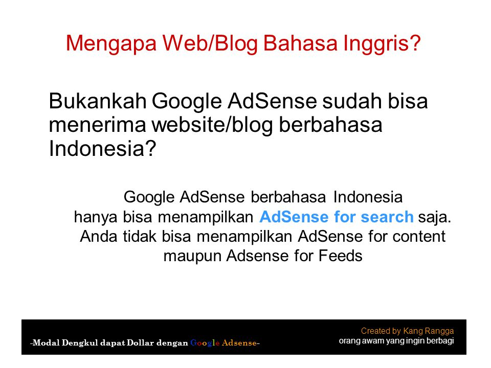 Mengapa Web/Blog Bahasa Inggris