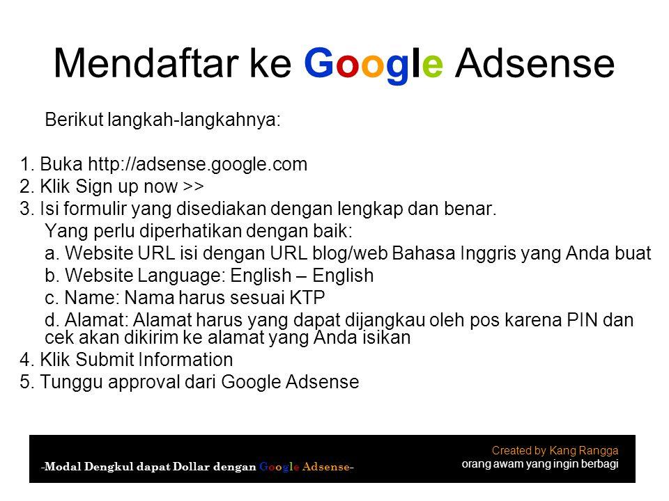 Mendaftar ke Google Adsense