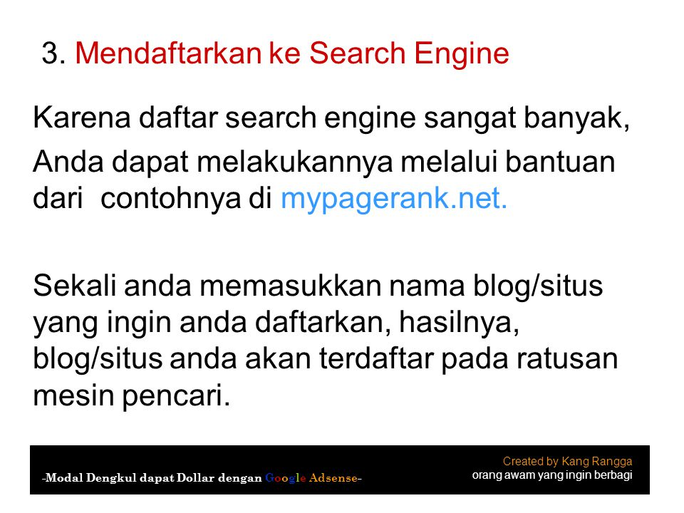3. Mendaftarkan ke Search Engine
