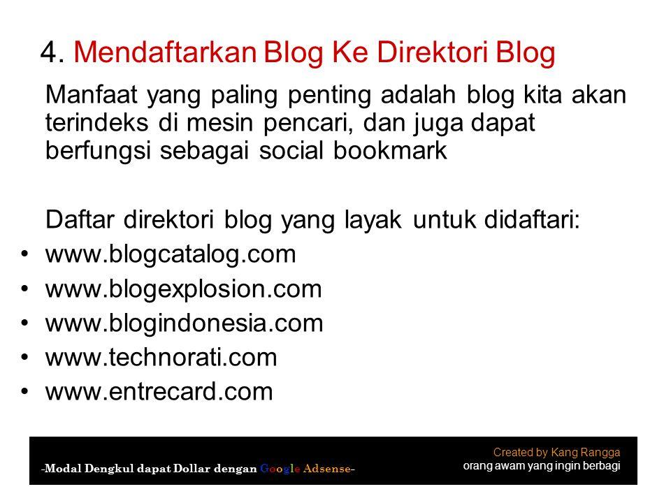 4. Mendaftarkan Blog Ke Direktori Blog