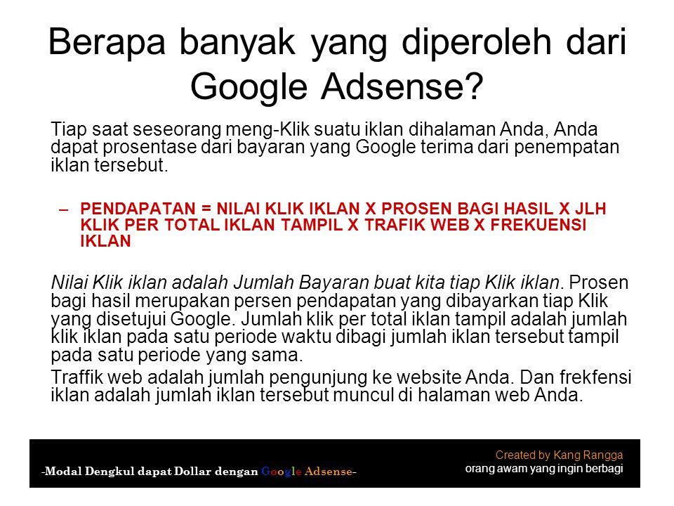 Berapa banyak yang diperoleh dari Google Adsense