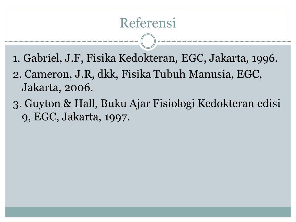 Referensi 1. Gabriel, J.F, Fisika Kedokteran, EGC, Jakarta, 1996.