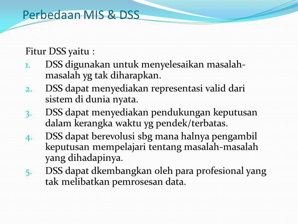 Perbedaan MIS & DSS Fitur DSS yaitu :