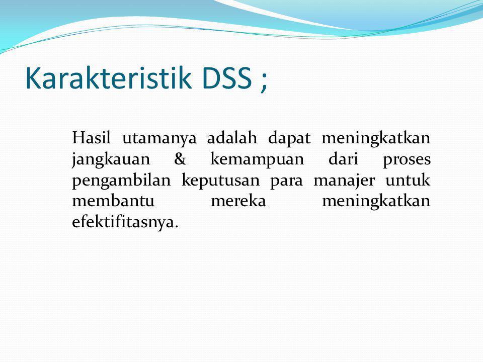 Karakteristik DSS ;
