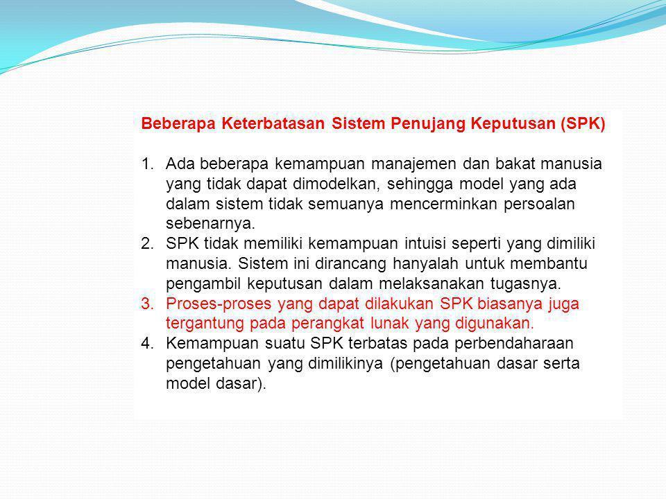 Beberapa Keterbatasan Sistem Penujang Keputusan (SPK)