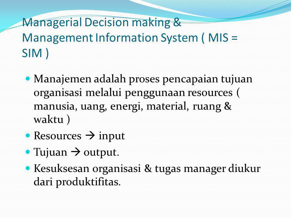 Managerial Decision making & Management Information System ( MIS = SIM )