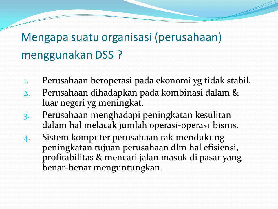Mengapa suatu organisasi (perusahaan) menggunakan DSS
