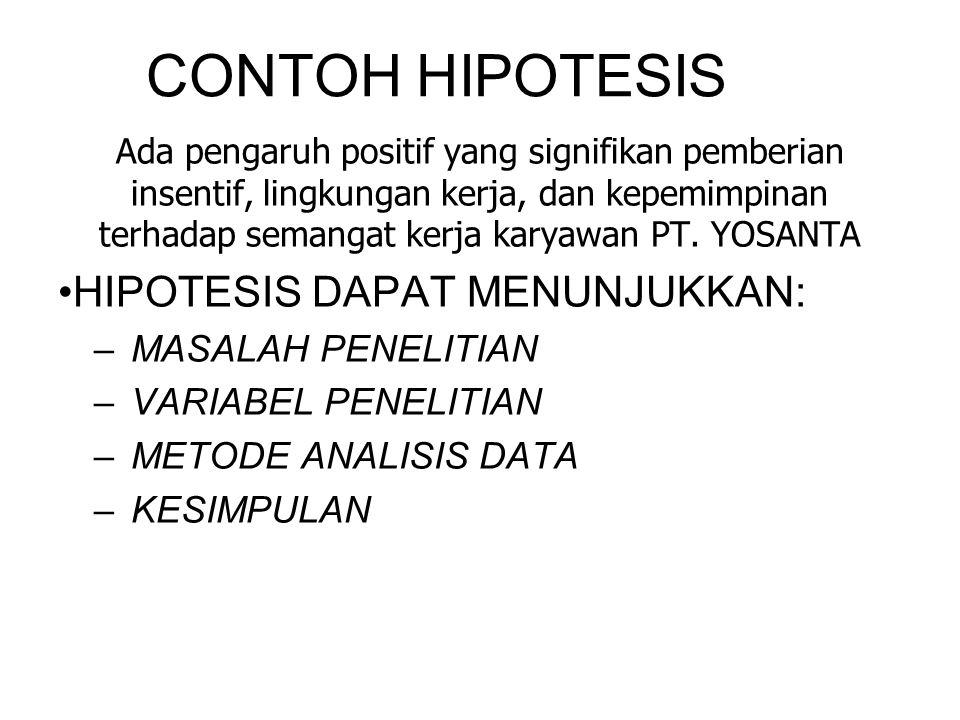 CONTOH HIPOTESIS HIPOTESIS DAPAT MENUNJUKKAN: MASALAH PENELITIAN