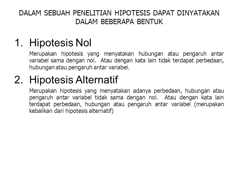 Hipotesis Nol Hipotesis Alternatif