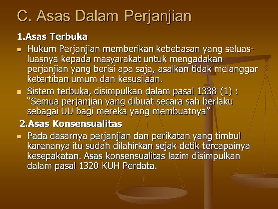 C. Asas Dalam Perjanjian